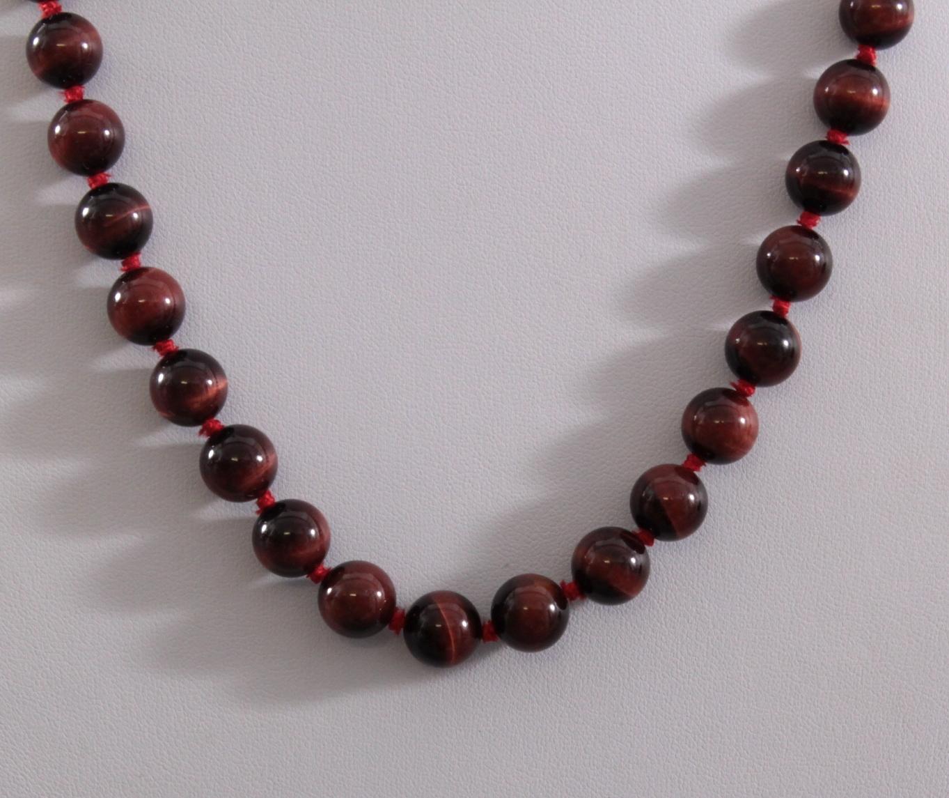 Damen-Halskette aus Tigerauge-Kugeln-2