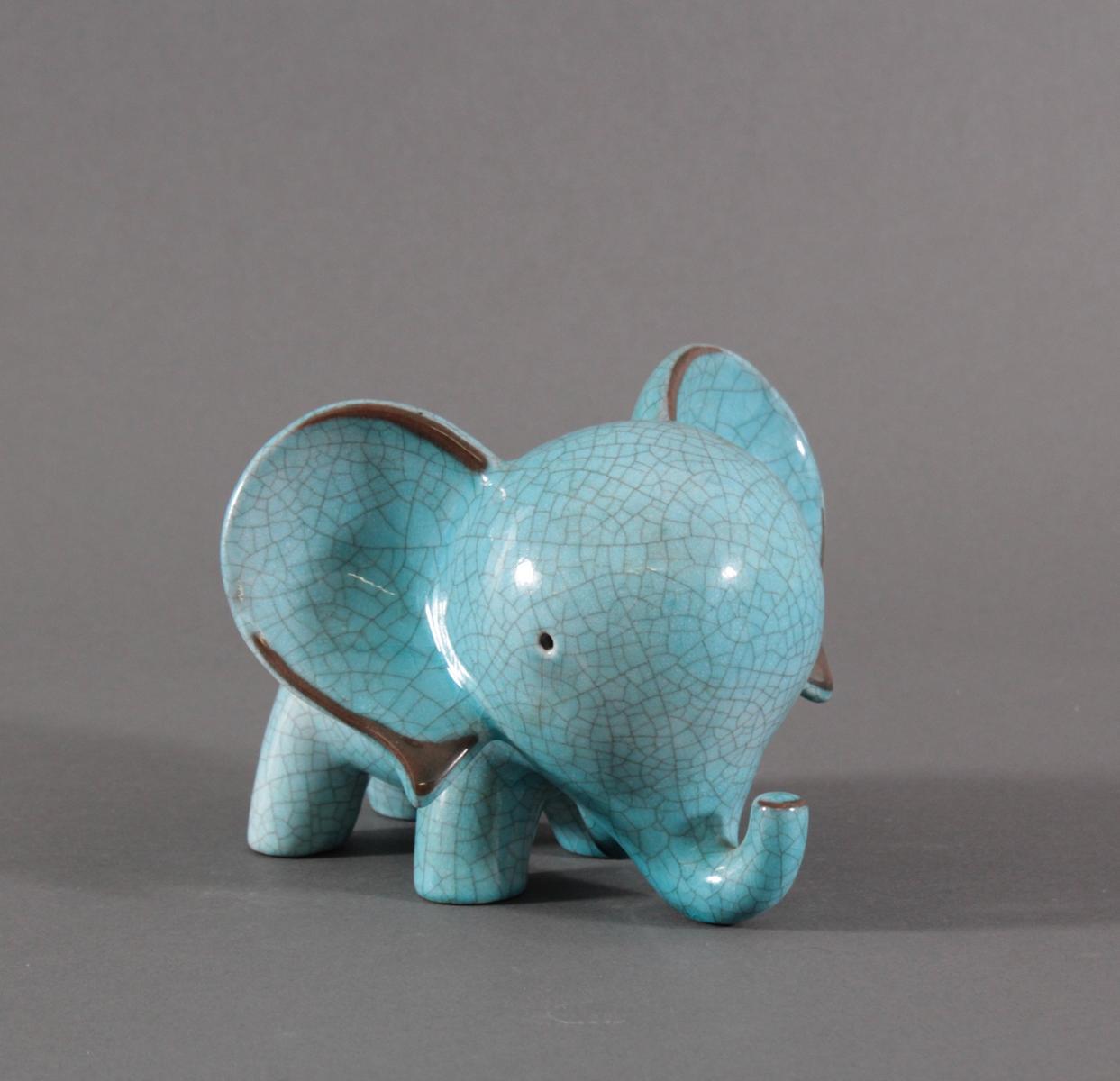 Keramik-Miniaturtierplastik, 'Elefant', Karlsruher Majolika, um 1956-88, Entw.: Walter Bosse
