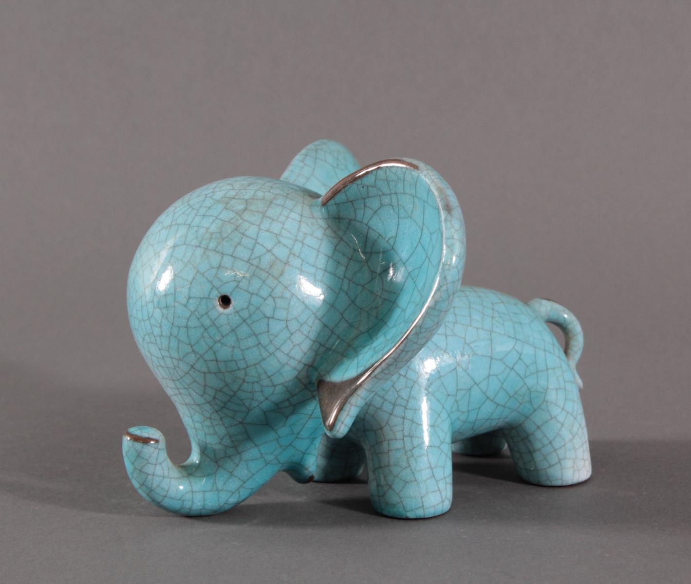 Keramik-Miniaturtierplastik, 'Elefant', Karlsruher Majolika, um 1956-88, Entw.: Walter Bosse-2