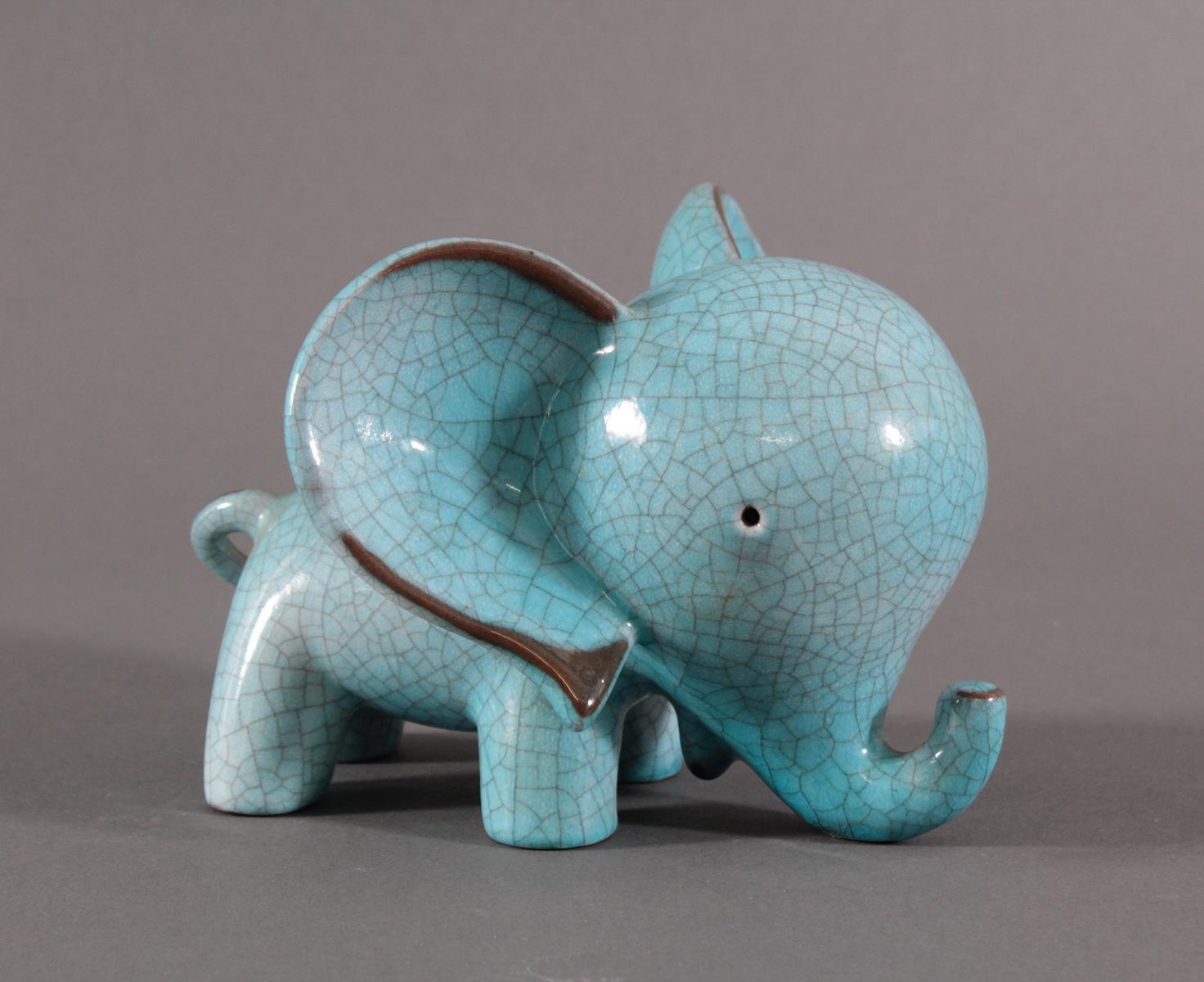 Keramik-Miniaturtierplastik, 'Elefant', Karlsruher Majolika, um 1956-88, Entw.: Walter Bosse-3
