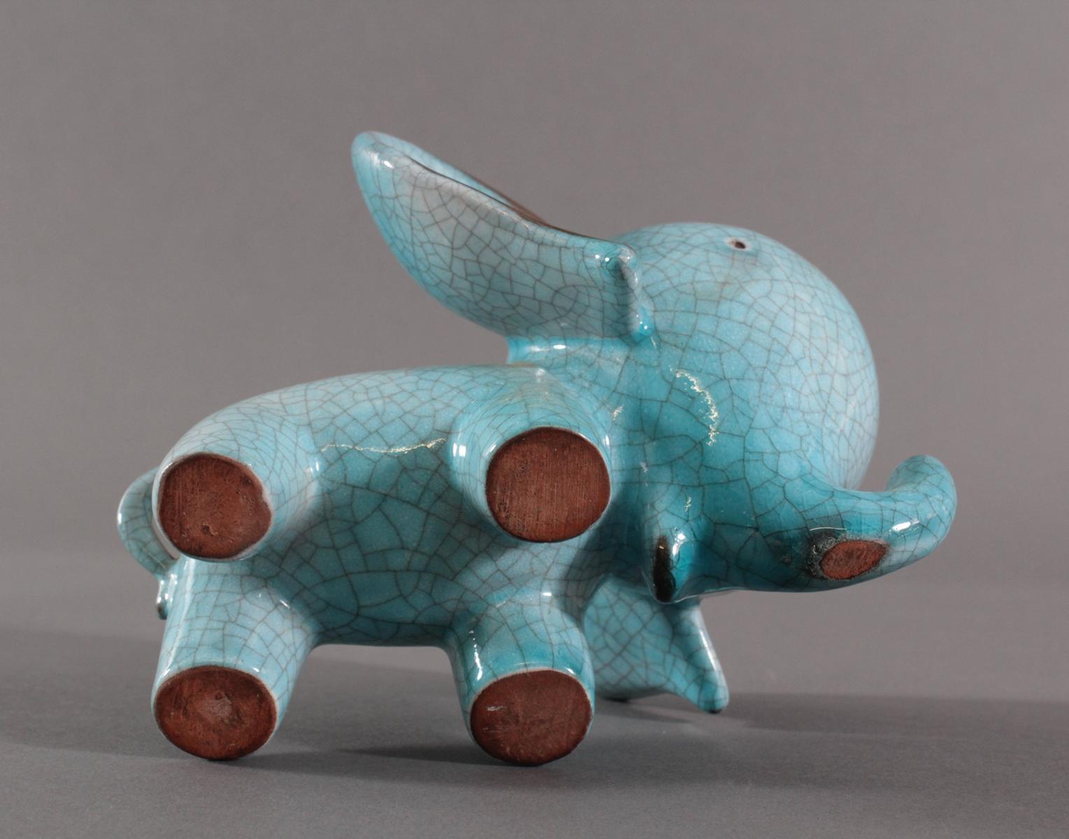 Keramik-Miniaturtierplastik, 'Elefant', Karlsruher Majolika, um 1956-88, Entw.: Walter Bosse-5