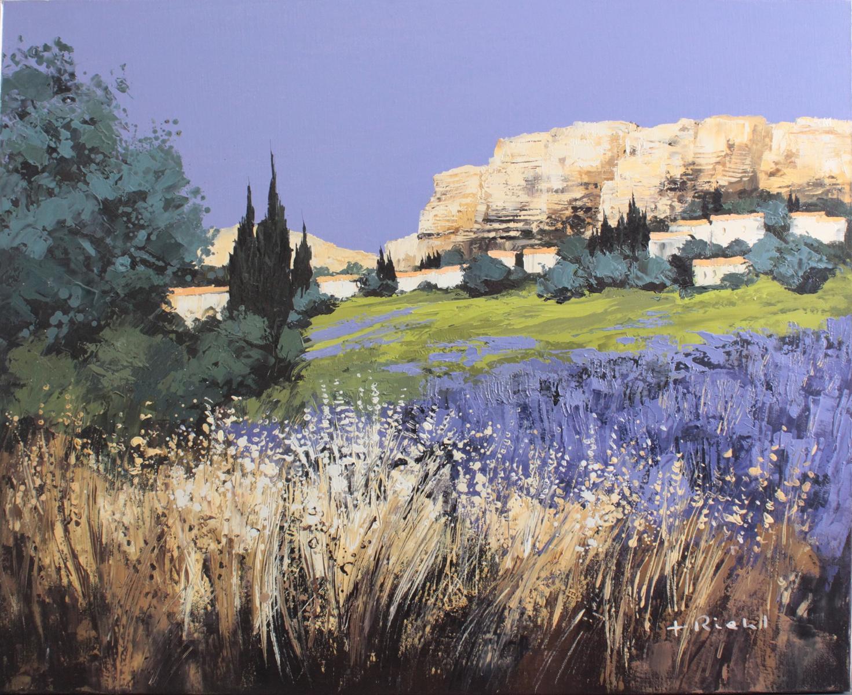 F. Riehel, zeitgenössischer Künstler. 'Le Village de Saignon', Luberon