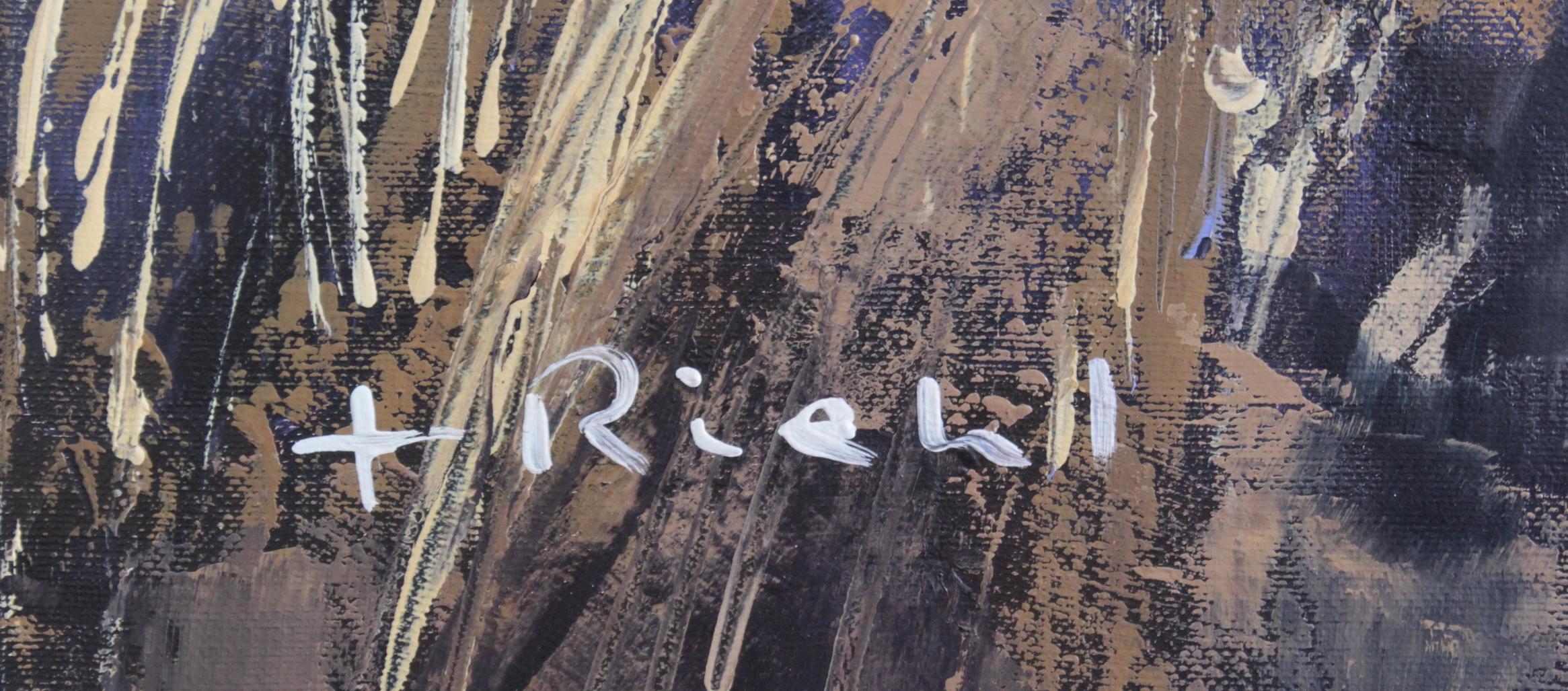 F. Riehel, zeitgenössischer Künstler. 'Le Village de Saignon', Luberon-2
