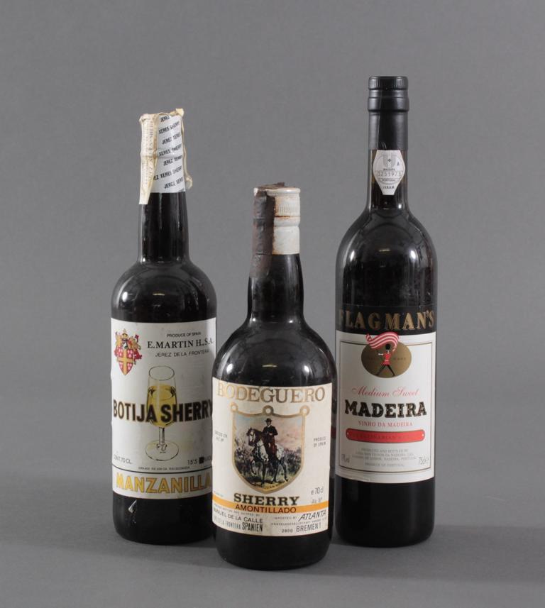 3 Flaschen, Madeira und Sherry