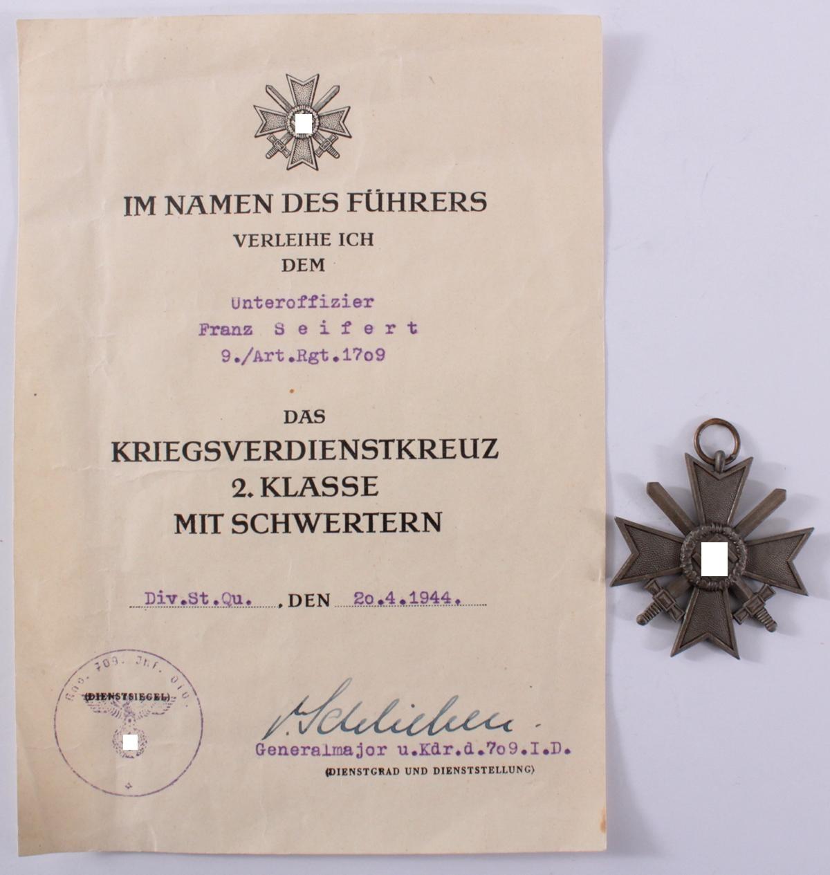 Drittes Reich, Kriegsverdienstkreuz 2 Klasse mit Schwertern und Verleihungsurkunde