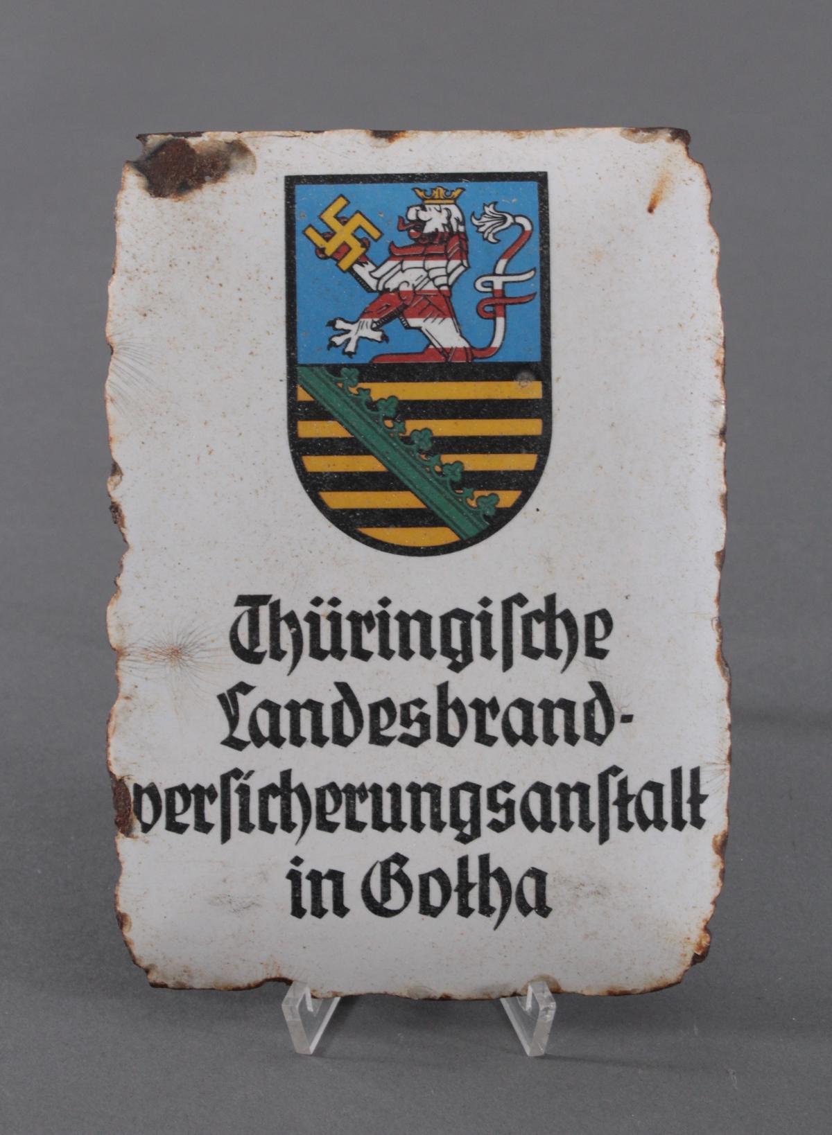 3. Reich, Emailschild mit Hakenkreuz