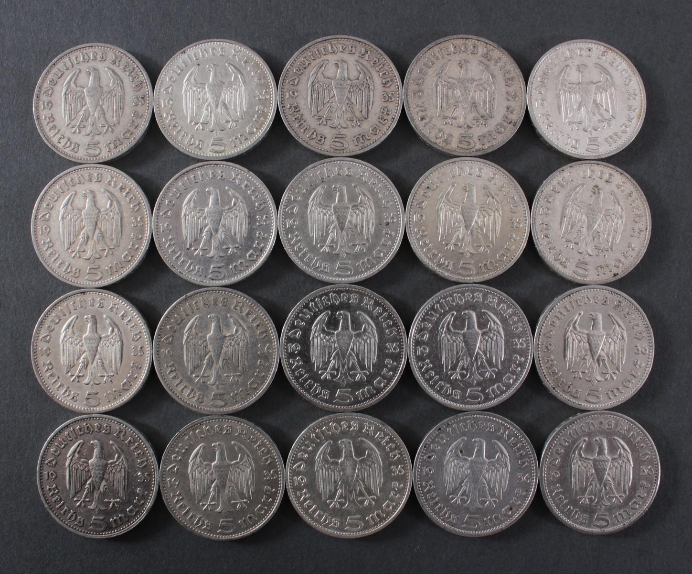 Deutsches Reich, 20x 5 Reichsmark 1935/36 Hindenburg-2