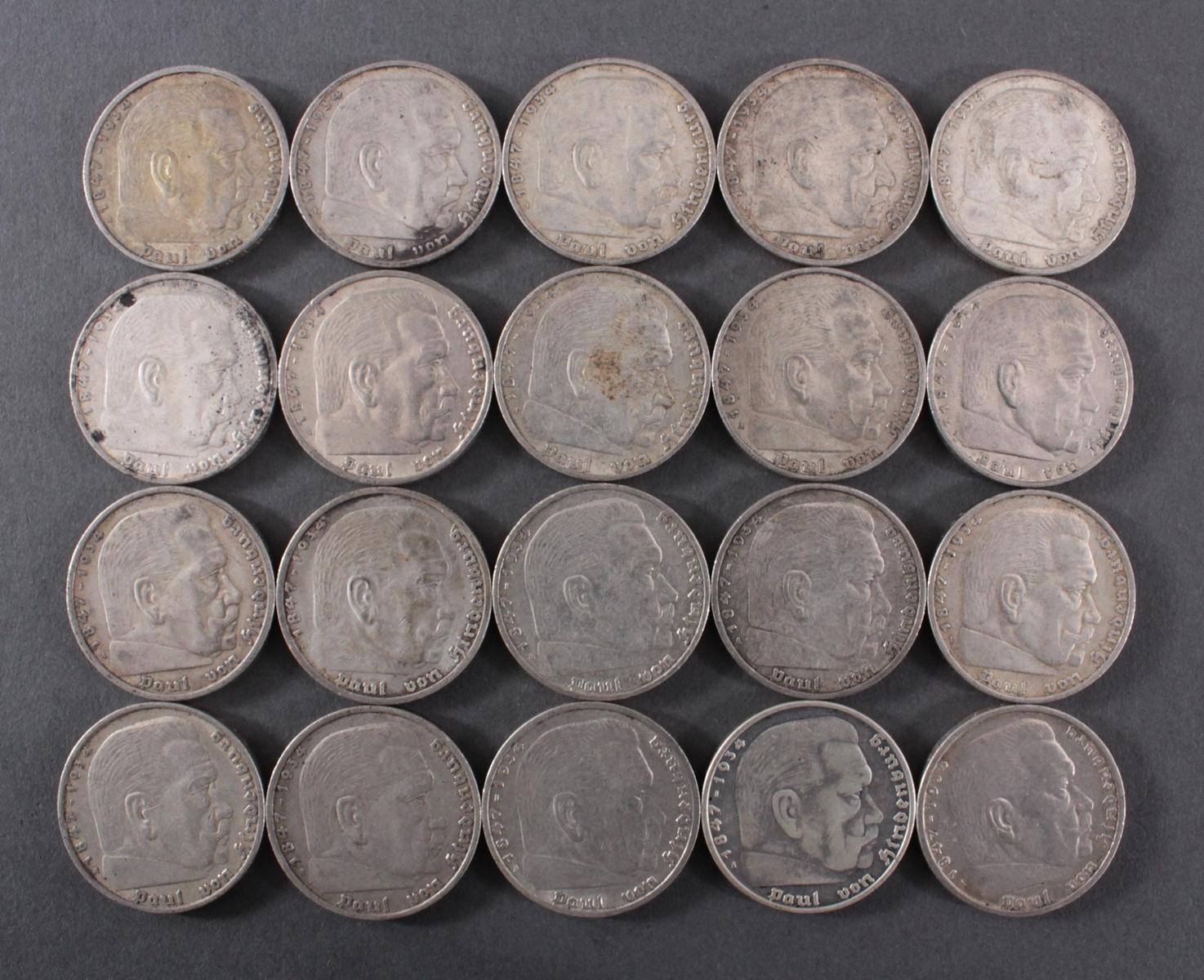 Deutsches Reich, 20x 5 Reichsmark 1936 A Hindenburg