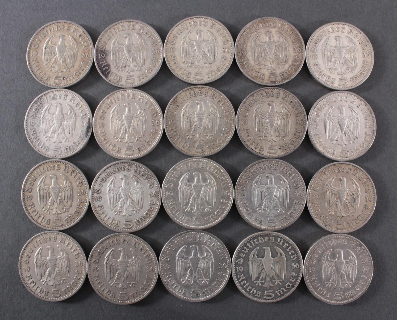 Deutsches Reich, 20x 5 Reichsmark 1936 A Hindenburg-2