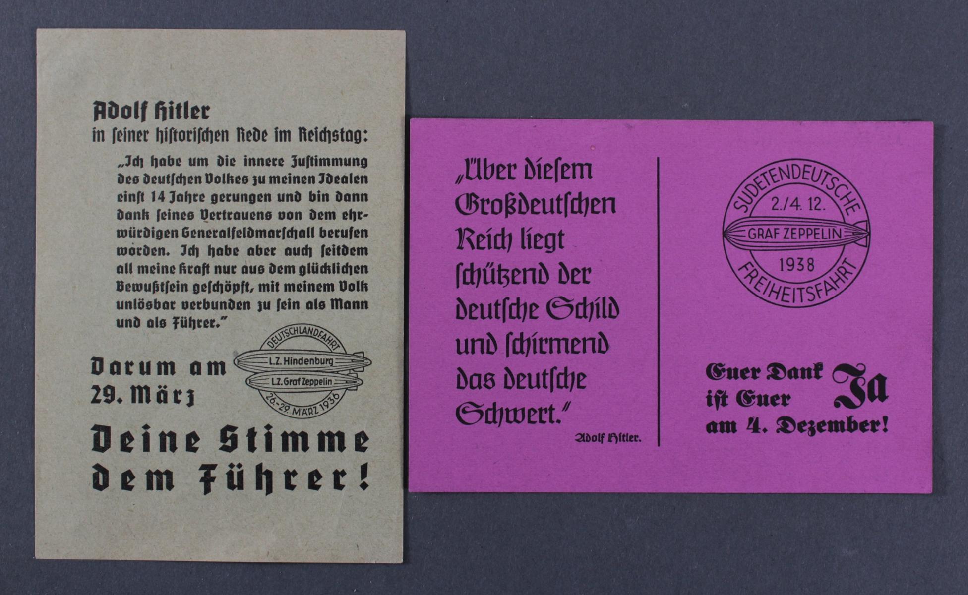 1936/1938, 2 verschiedene Wahlaufrufzettel Sudetenland