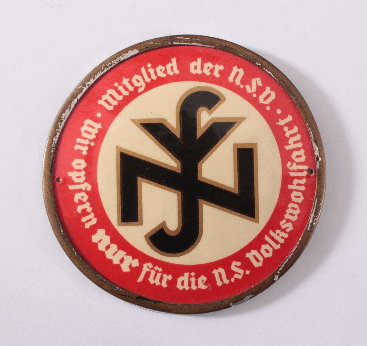 Türplakette Mitglied der N.S. Volkswohlfahrt