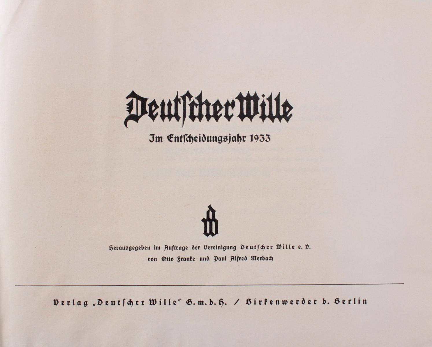 Deutscher Wille im Entscheidungsjahr 1933-2