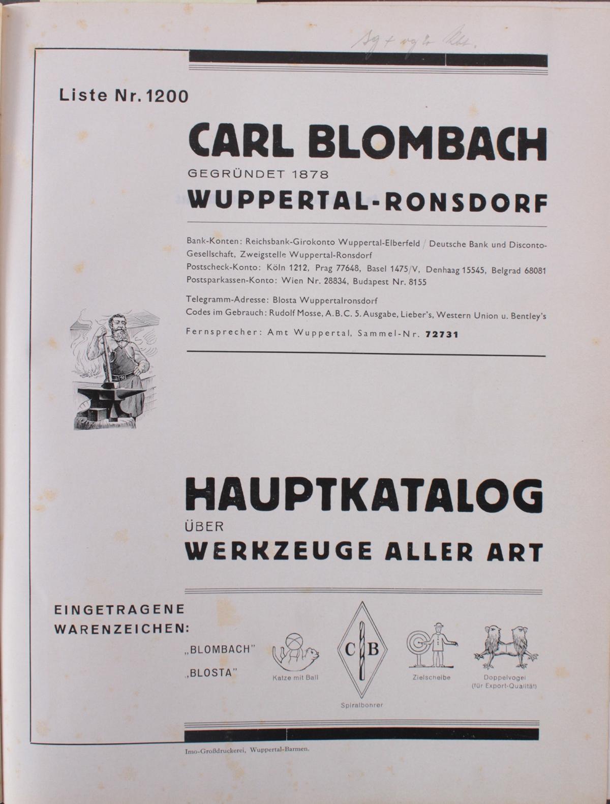 Blosta Werkzeug Katalog von 1920-2