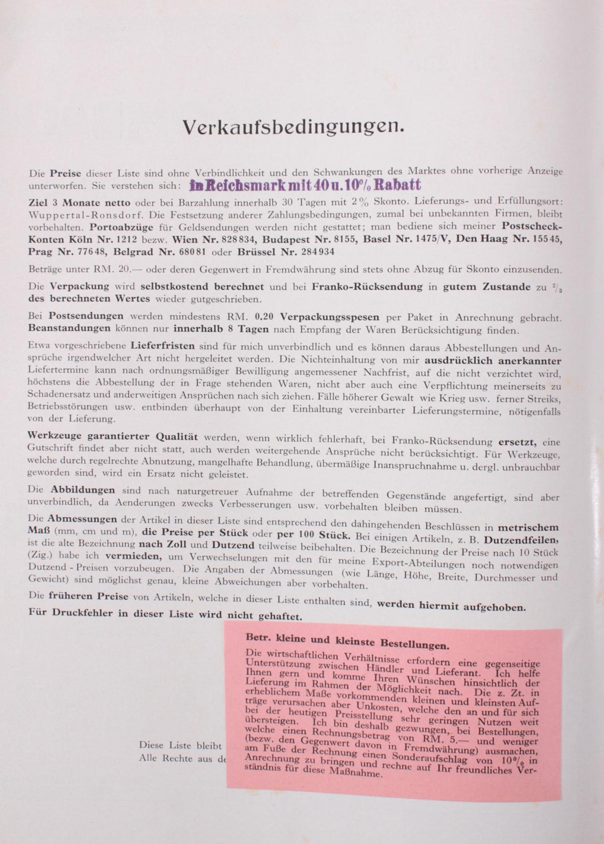 Blosta Werkzeug Katalog von 1920-3
