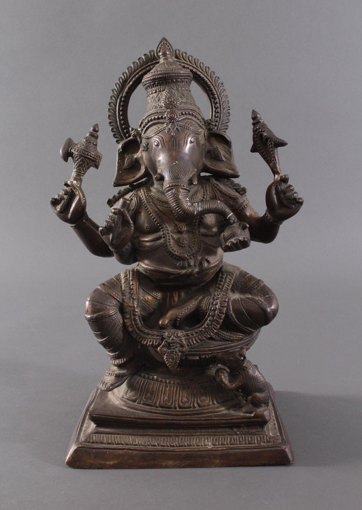 Große Ganesha, Indien um 1900 aus Bronze