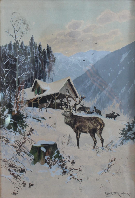 Eduard Heller 1852 – ? 'Rotwild bei der Fütterung'-2