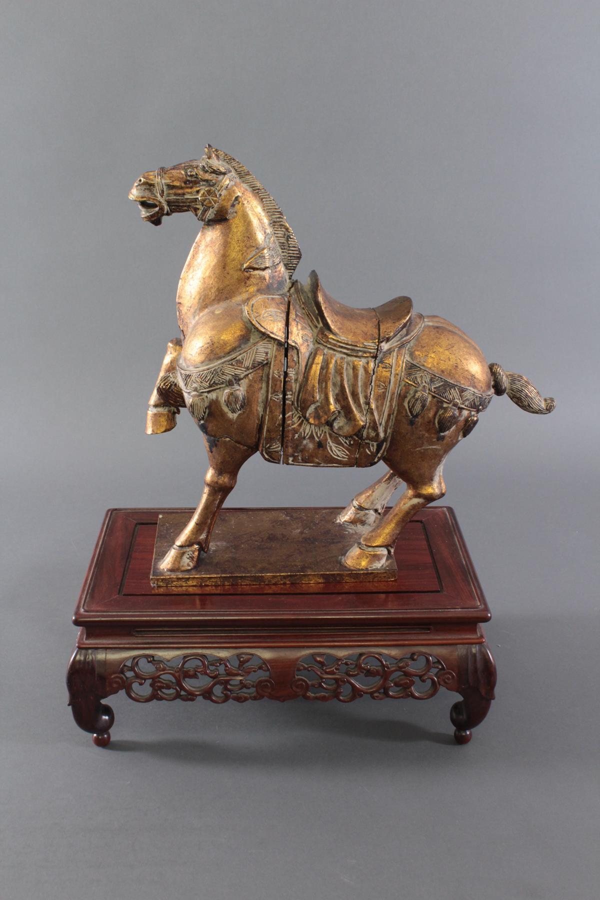Holzpferd, im Stil der Tang-Zeit, China 20. Jh.-2