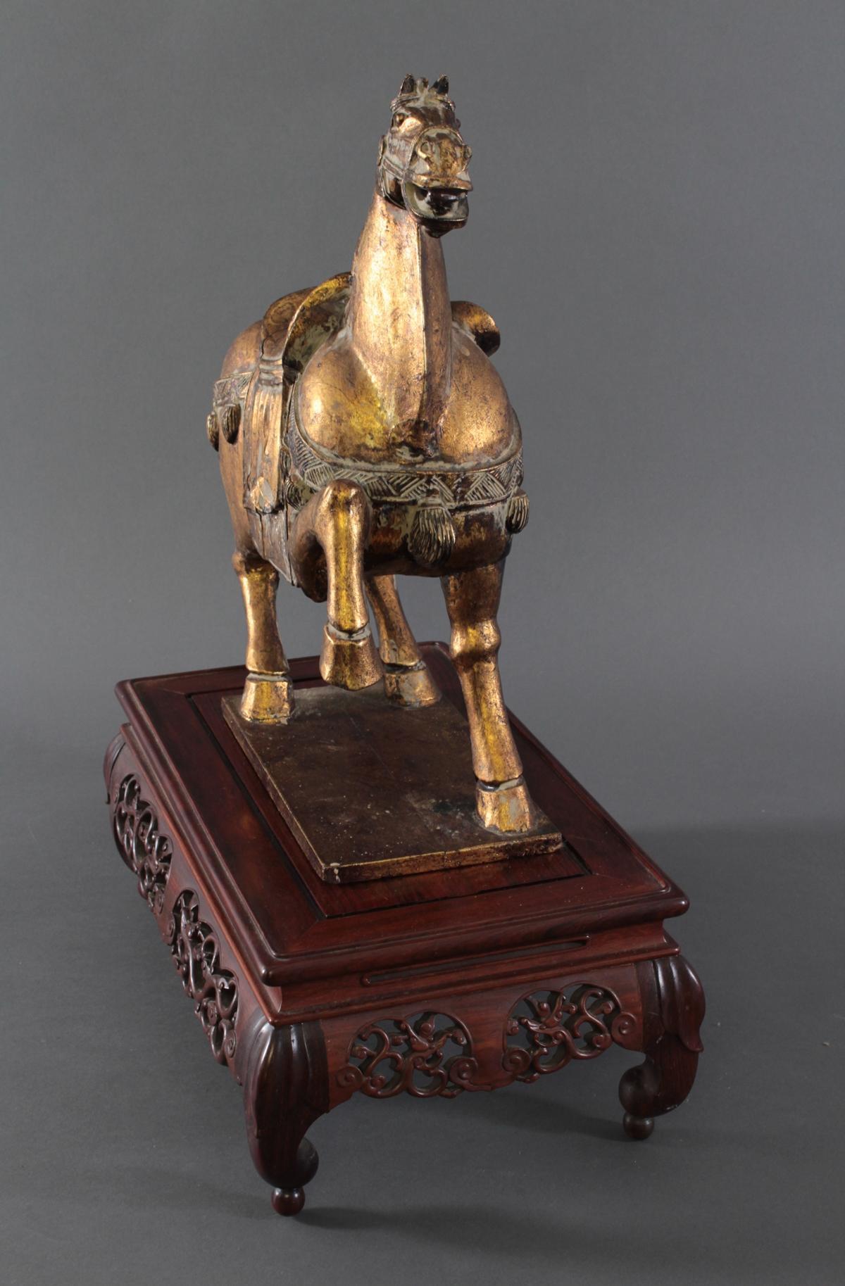 Holzpferd, im Stil der Tang-Zeit, China 20. Jh.-3