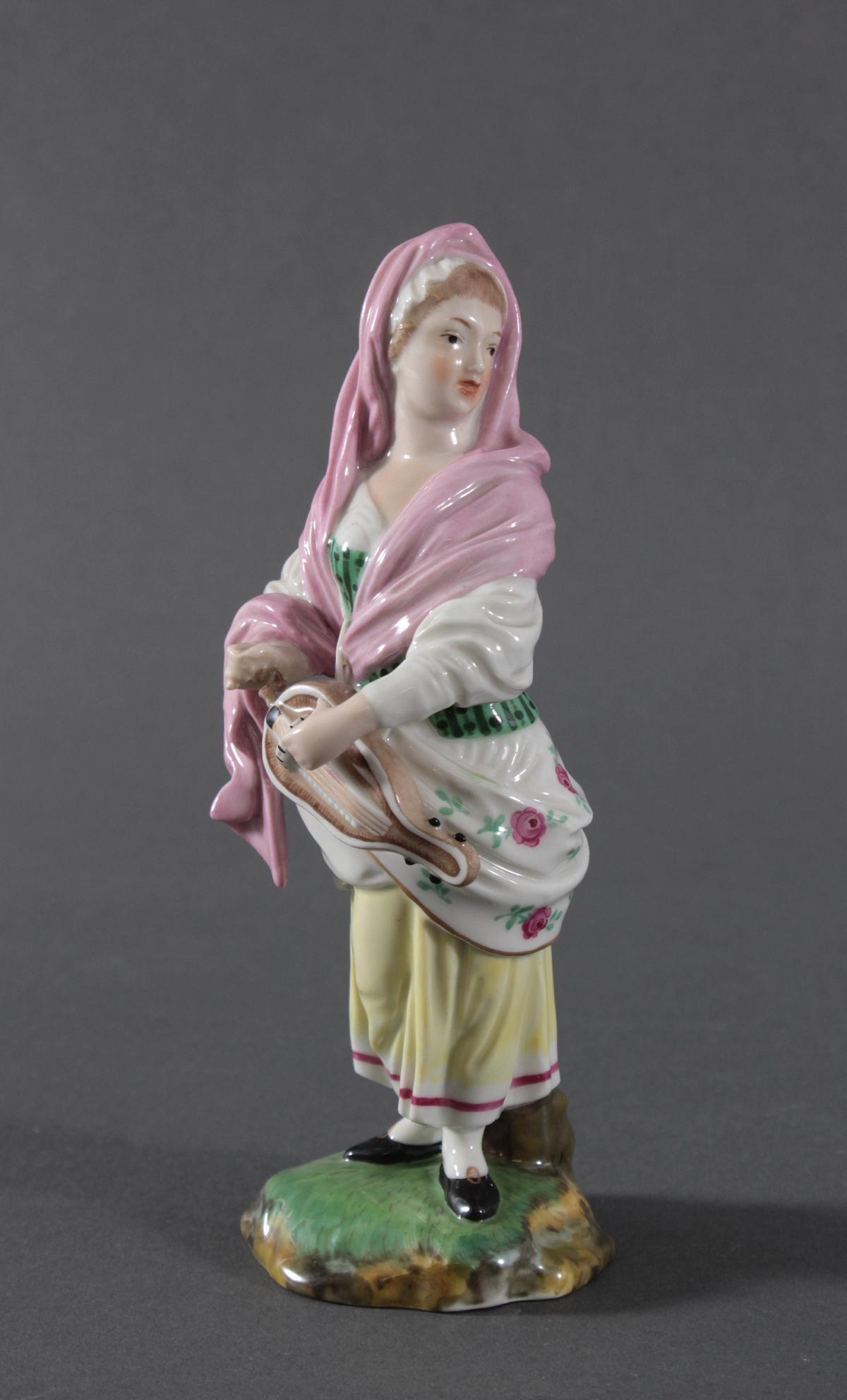 Porzellanfigur, Höchster Porzellanmanufaktur, 'Drehleispielerin'