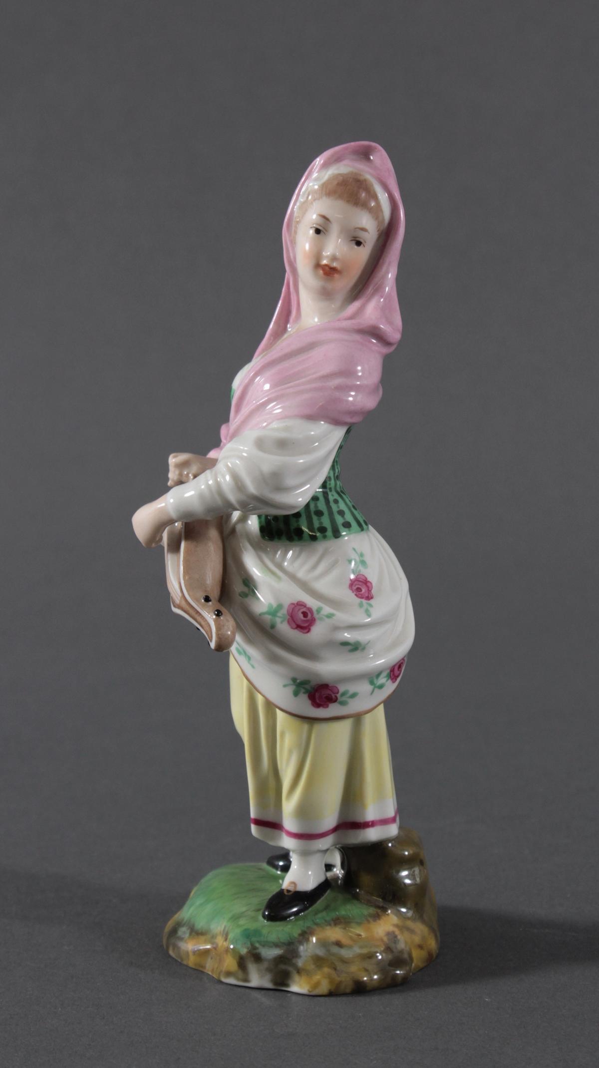 Porzellanfigur, Höchster Porzellanmanufaktur, 'Drehleispielerin'-4