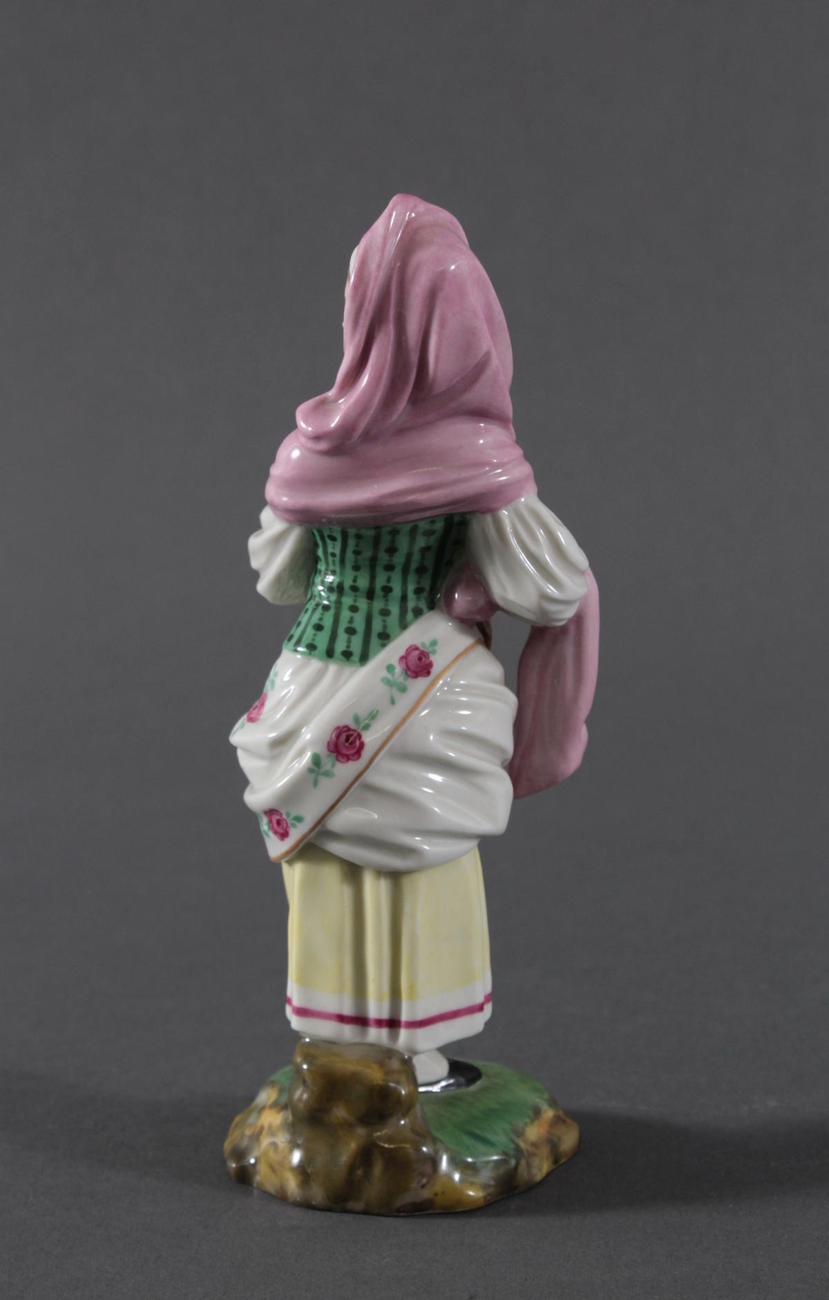 Porzellanfigur, Höchster Porzellanmanufaktur, 'Drehleispielerin'-6