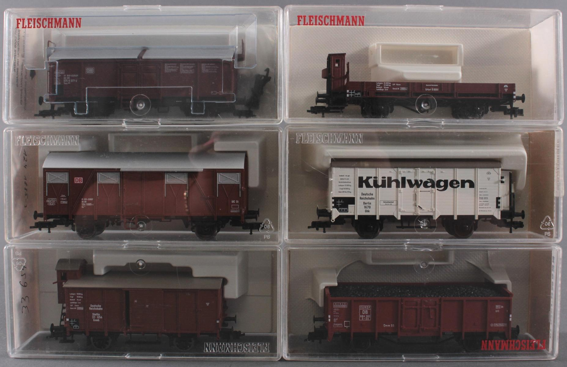 6 Fleischmann Güterwaggons Spur H0