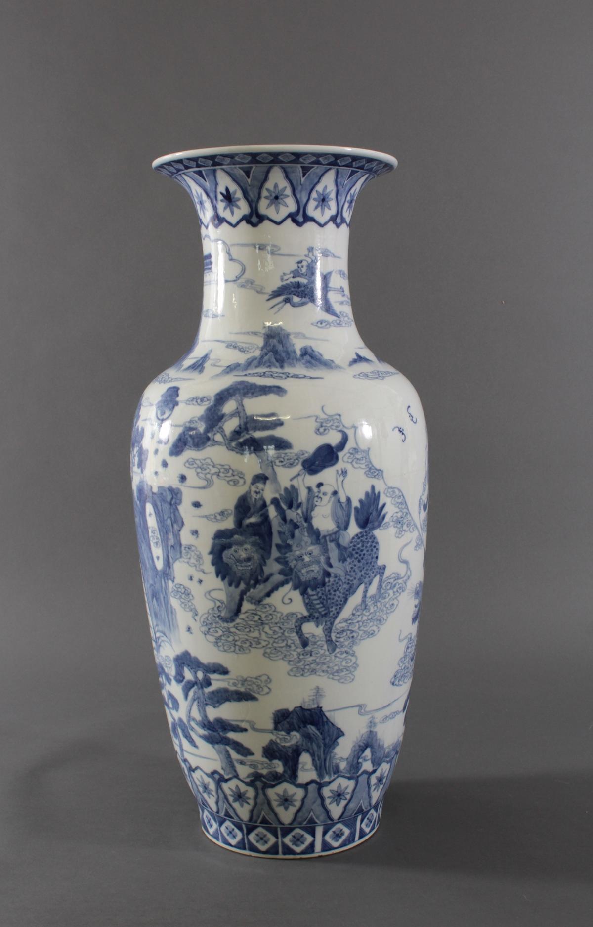 Große Chinesische Porzellan-Vase, Bodenvase, 20. Jh.