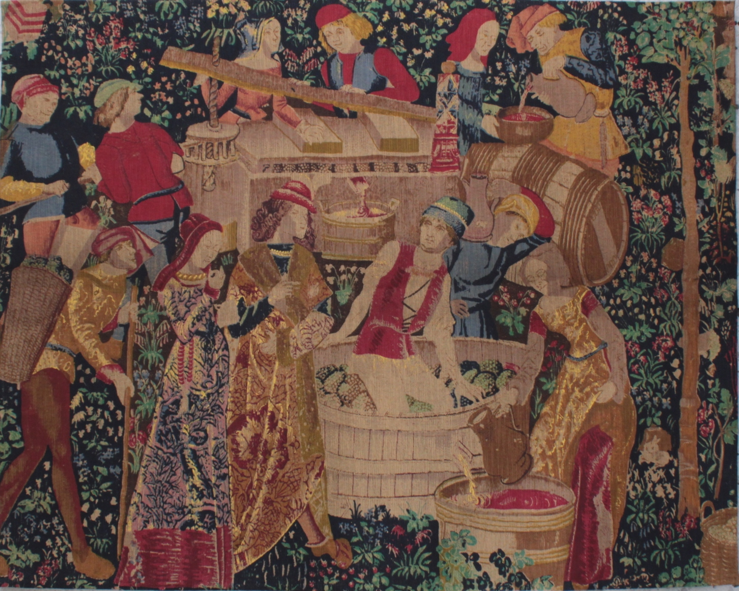 Gobelin im Stil des 18. Jh. Frankreich 2. Hälfte 20. Jh. 'Weinlese'