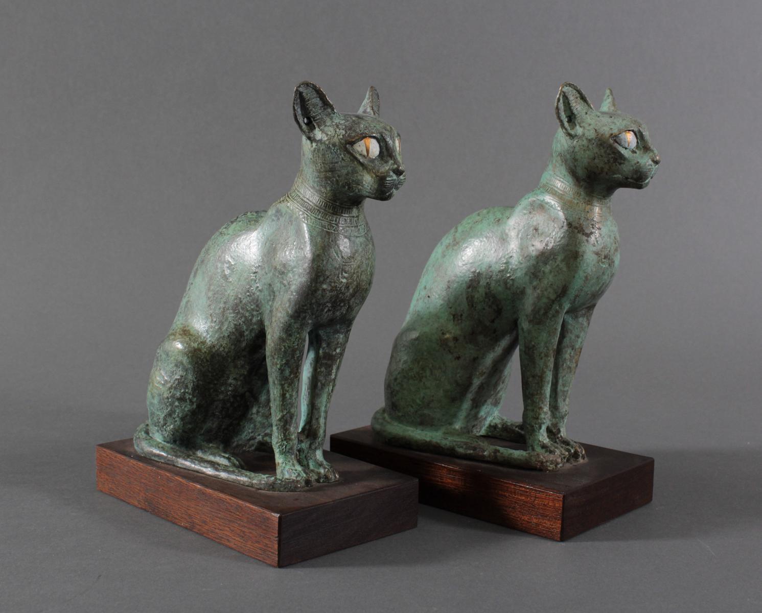 Paar Katzenfiguren aus Bronze,der Göttin Bastet Lieblingstier, Votivfiguren-2