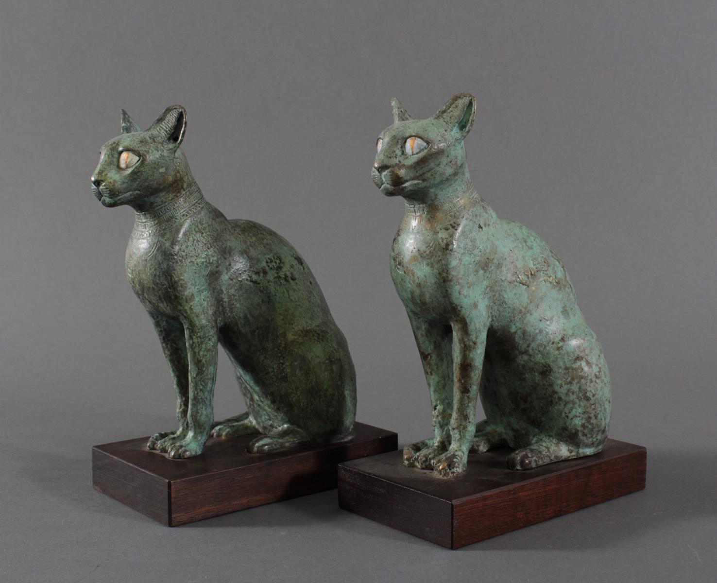 Paar Katzenfiguren aus Bronze,der Göttin Bastet Lieblingstier, Votivfiguren-3