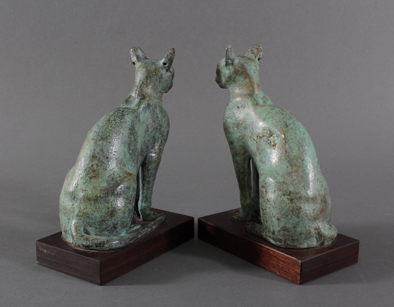 Paar Katzenfiguren aus Bronze,der Göttin Bastet Lieblingstier, Votivfiguren-4