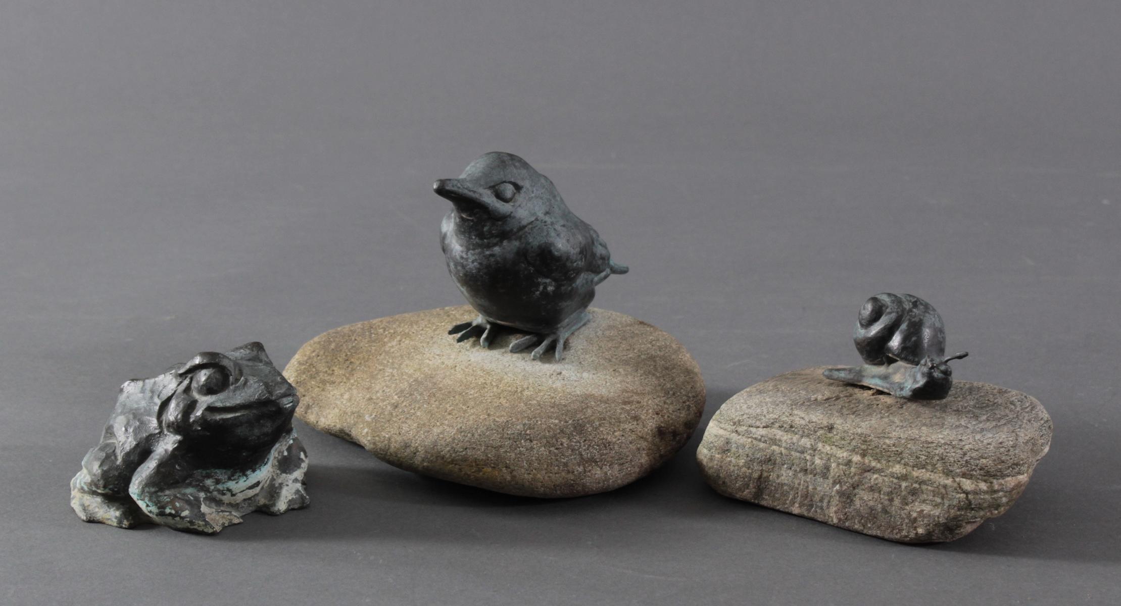 Philipp Basche, 3 Tierplastiken aus Kupfer und Bronze