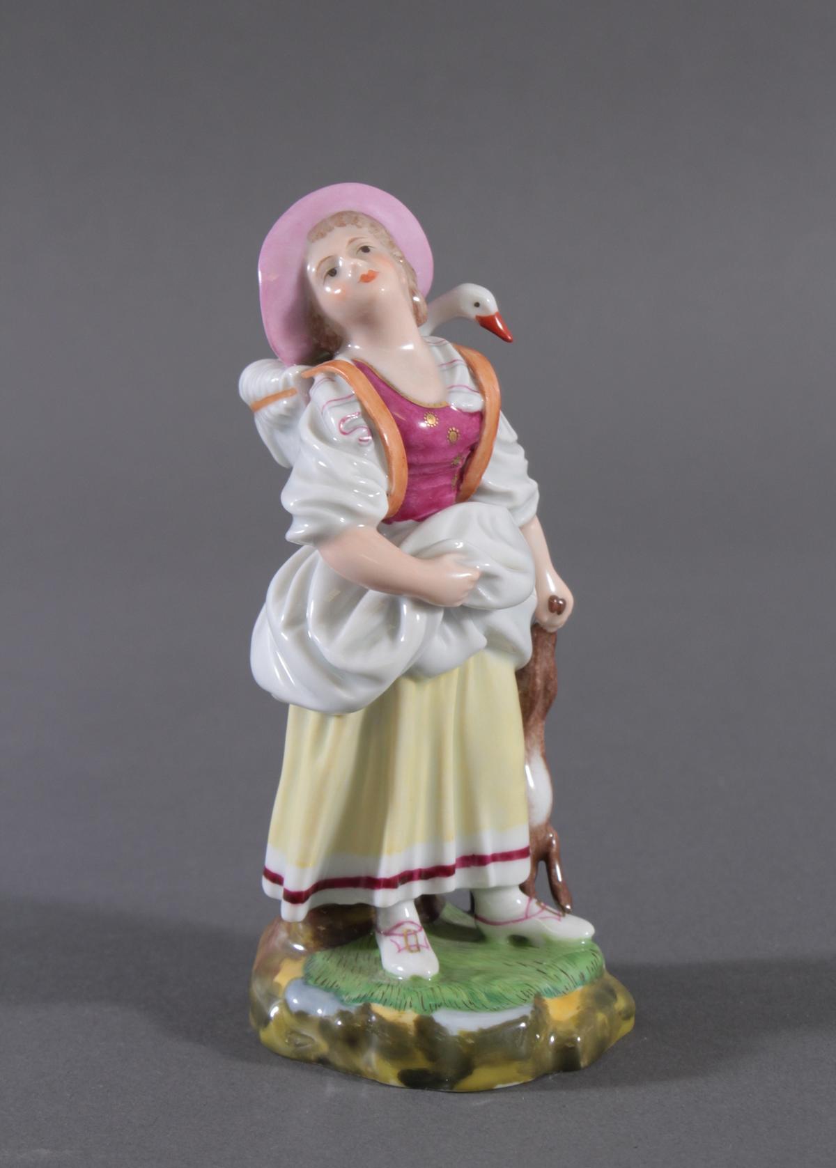 Höchster Porzellanmanufaktur. 'Bäuerin mit Gans und Hase'