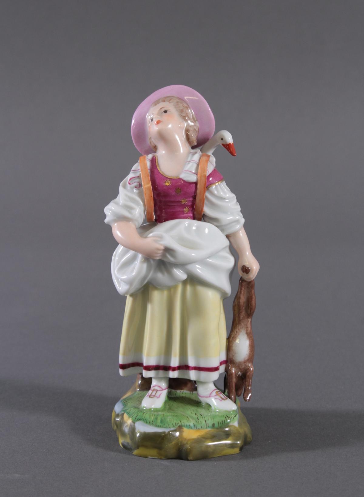 Höchster Porzellanmanufaktur. 'Bäuerin mit Gans und Hase'-2
