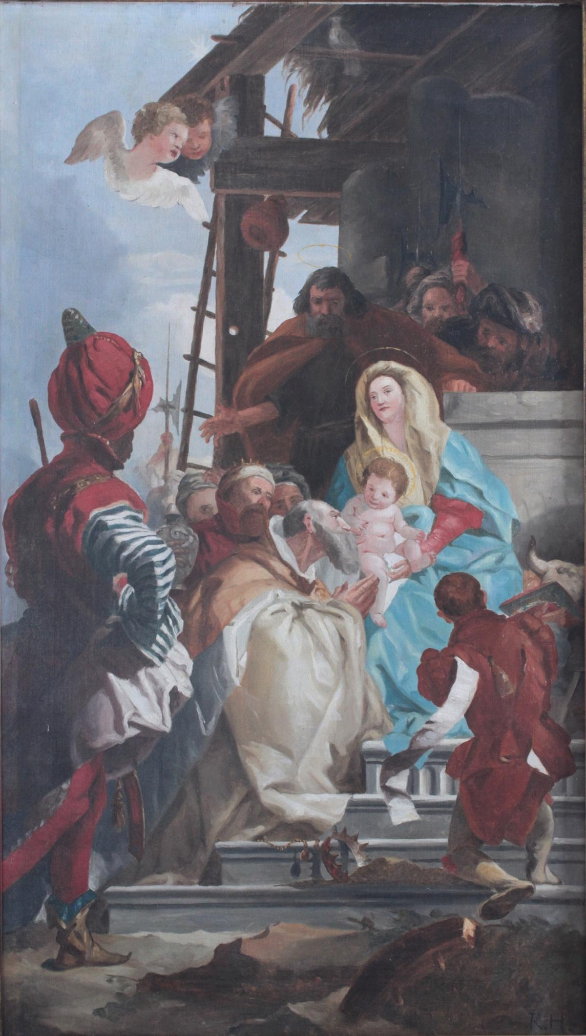 Marienbildnis mit Jesuskind, die Heiligen drei Könige, Monogrammist: R.H. 20. Jh.-2