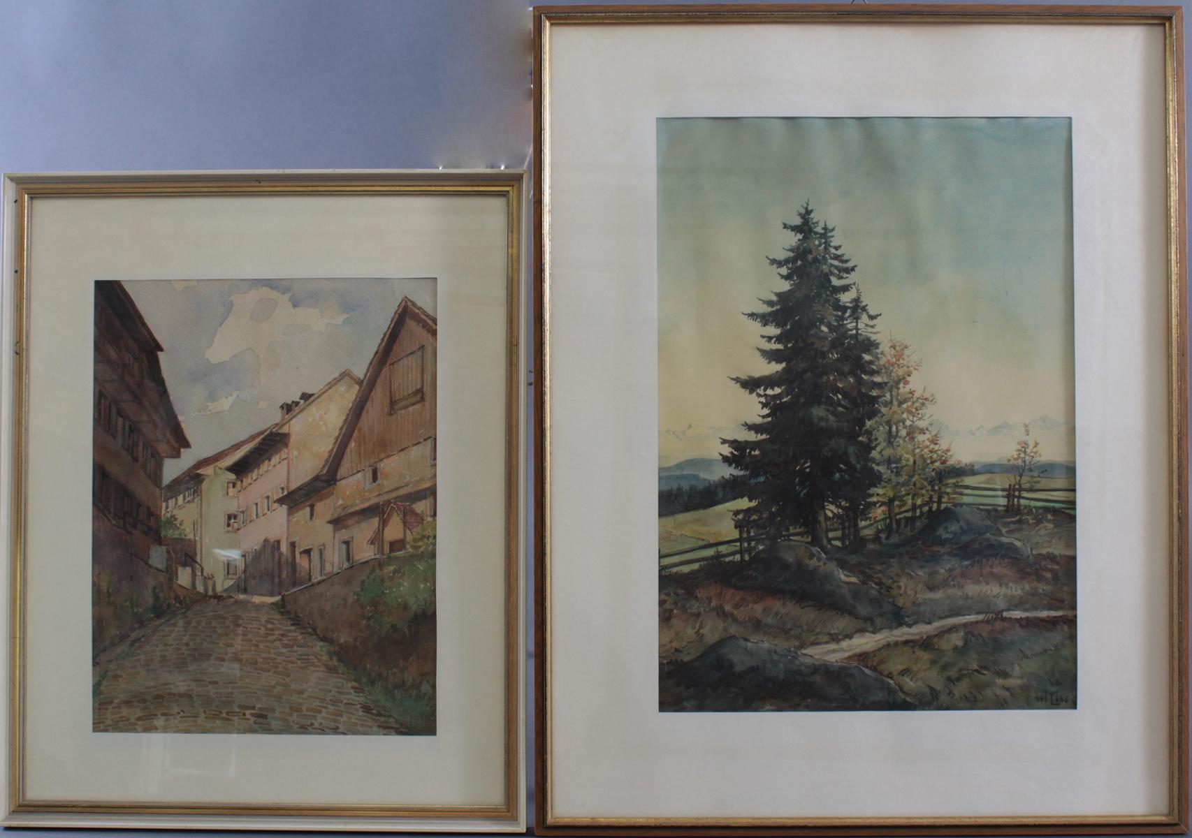 2 Aquarelle, unbekannter Monogrammist: M.L 1946 und 1950