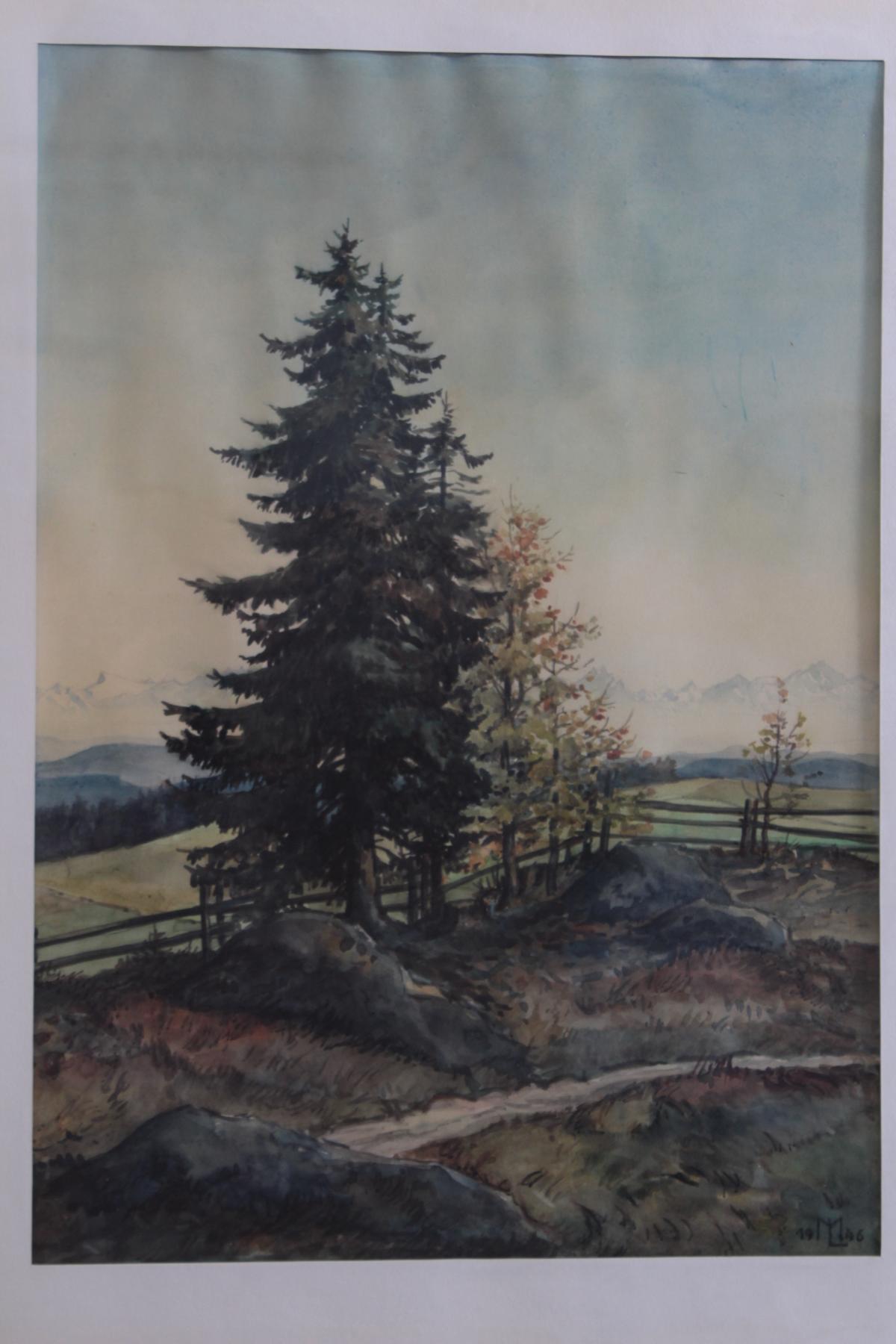 2 Aquarelle, unbekannter Monogrammist: M.L 1946 und 1950-2
