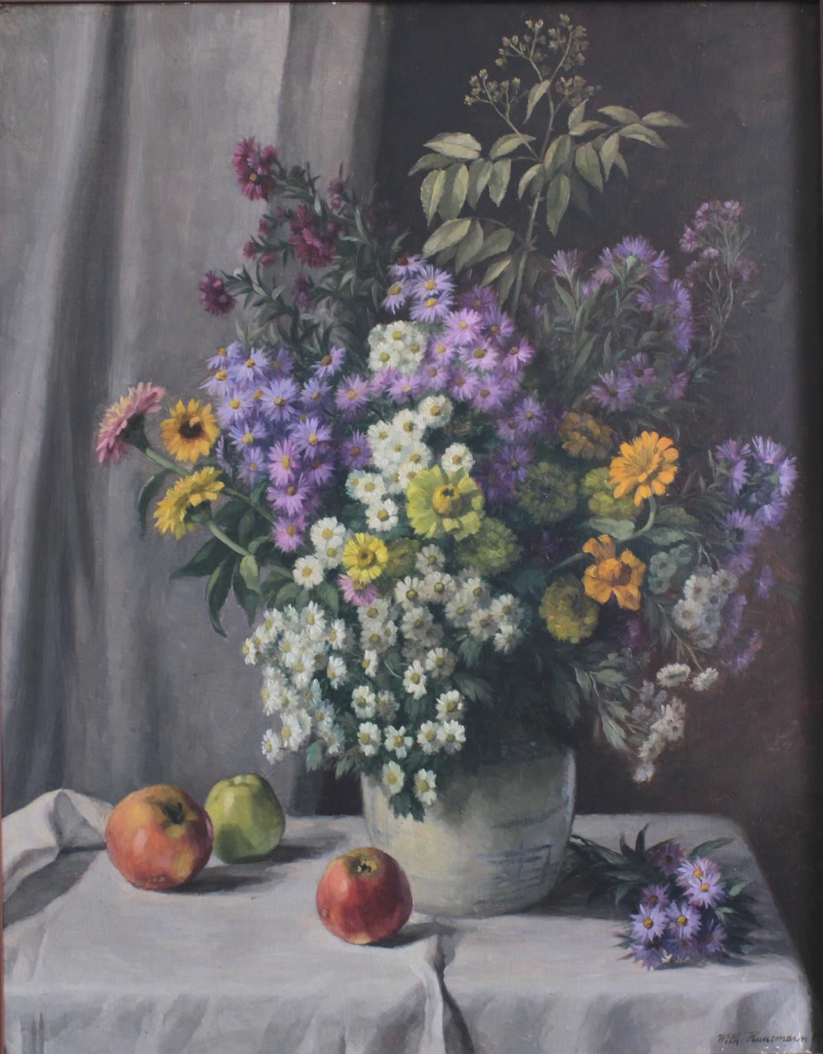 Wilhelm Hanemann (1880 – 1962),  Frühlingsstrauß in einem Fayencekrug auf einem Tisch mit Äpfeln-2