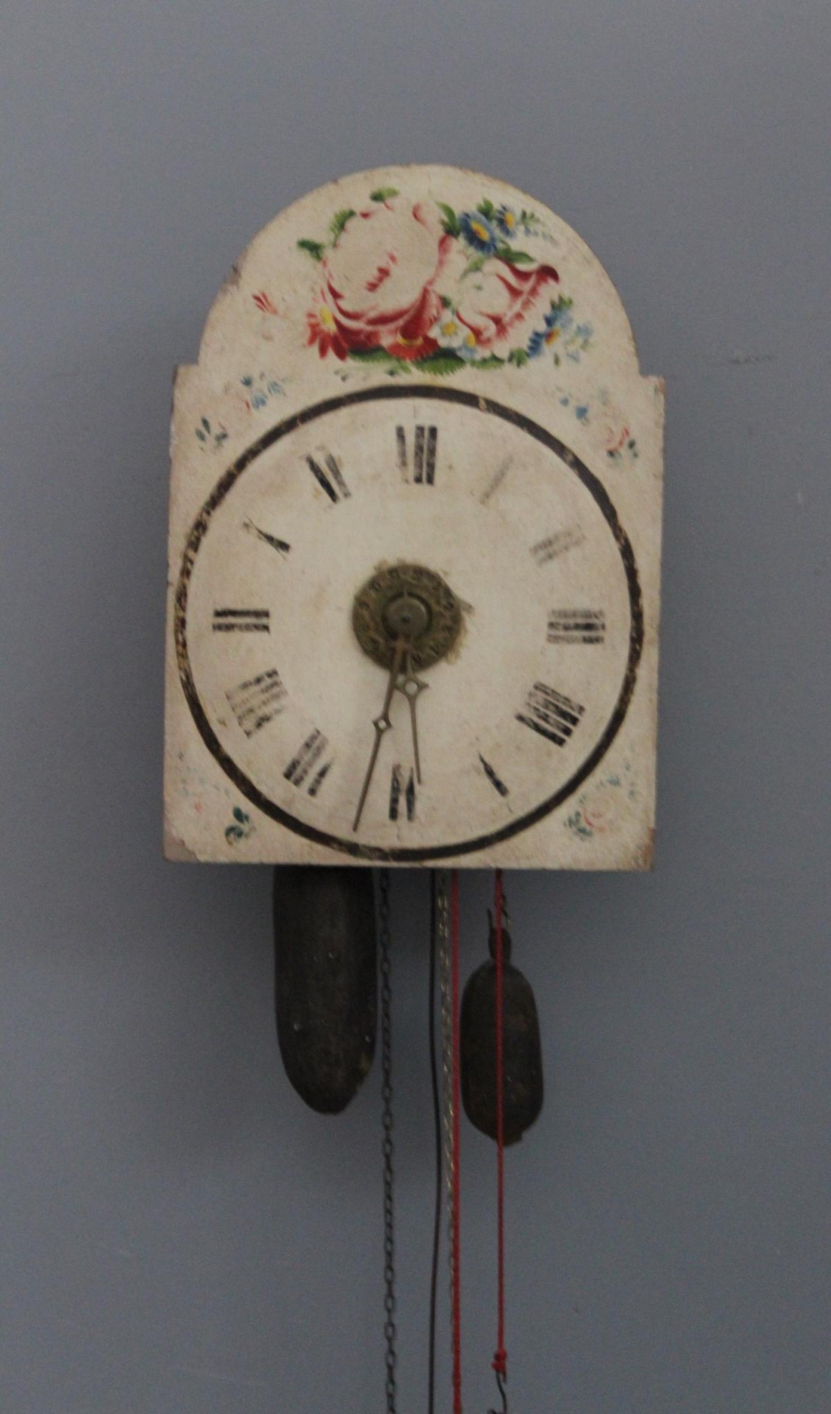 Schwarzwälder Bogenschilduhr mit Uhrzeitansage 19. Jh.-2