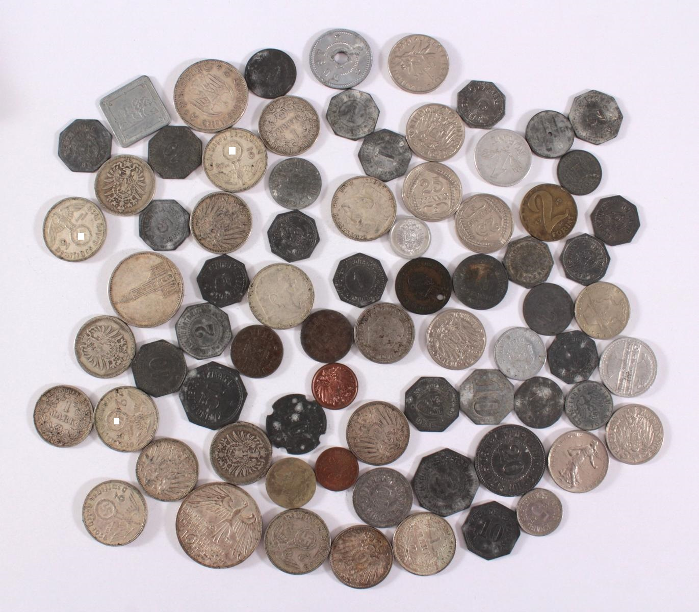 Konvolut Münzen Deutsches Reich, Kleingeld-Ersatzmark und alle Welt