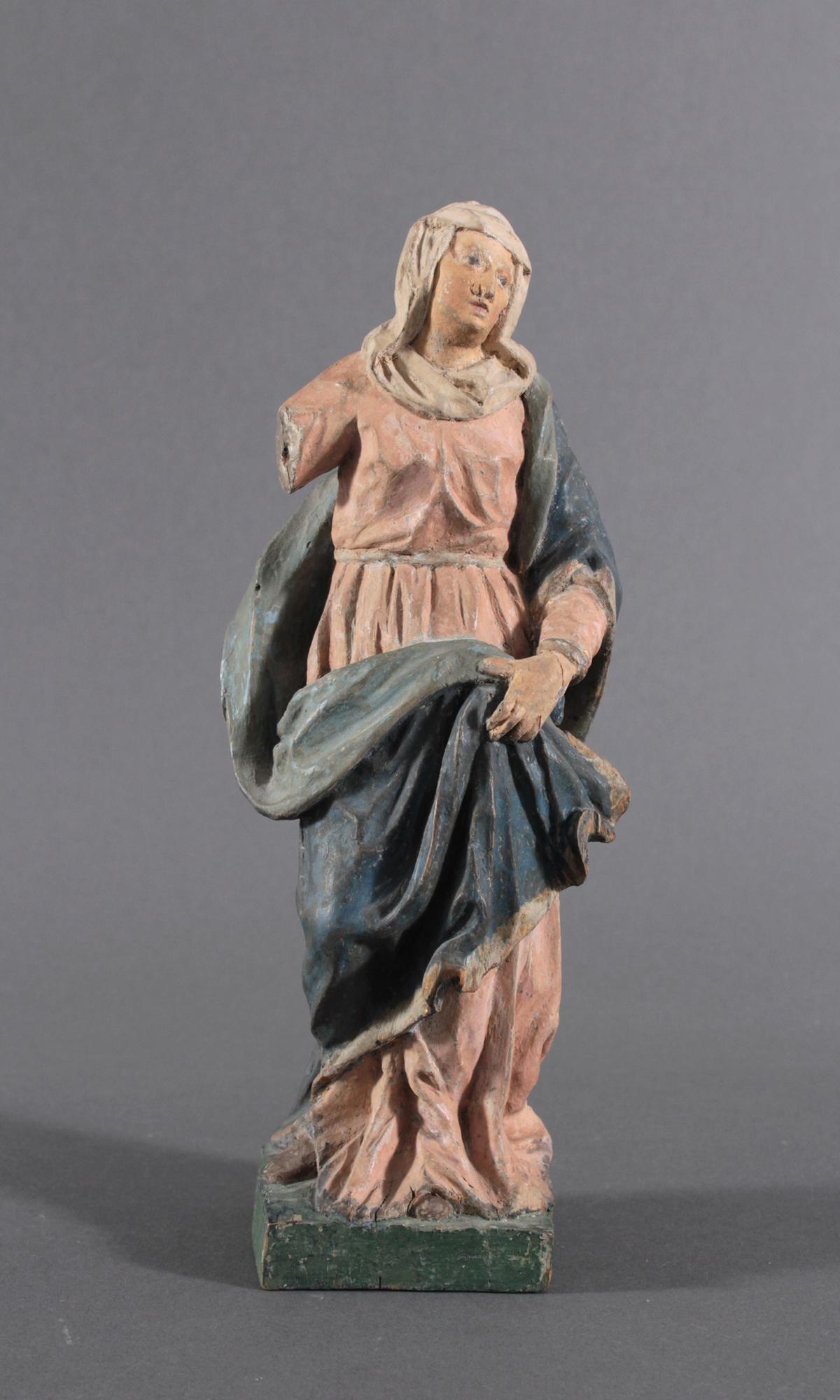 Holzskulptur, Maria mit langem Gewand, 19. Jahrhundert
