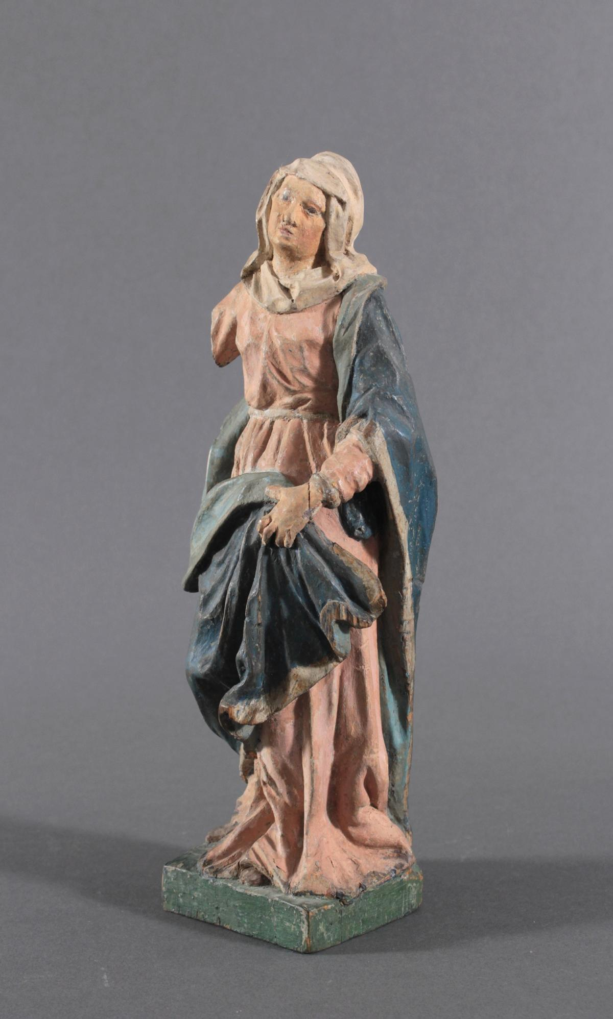 Holzskulptur, Maria mit langem Gewand, 19. Jahrhundert-2