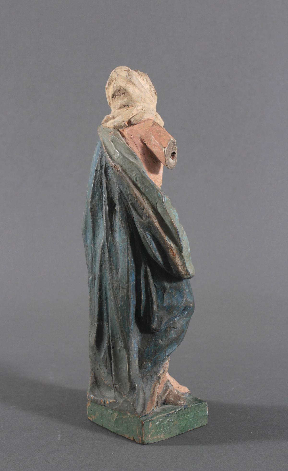 Holzskulptur, Maria mit langem Gewand, 19. Jahrhundert-3