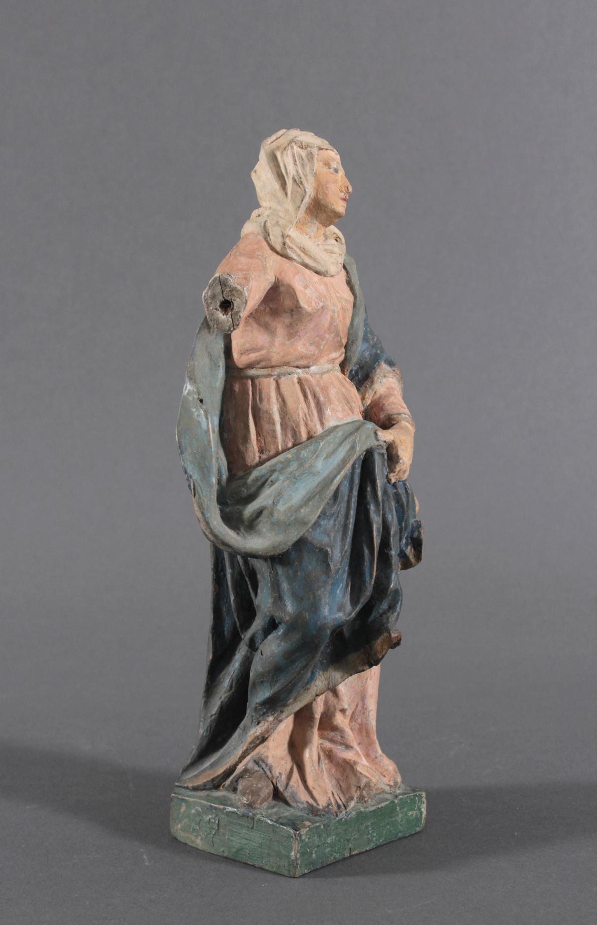 Holzskulptur, Maria mit langem Gewand, 19. Jahrhundert-4