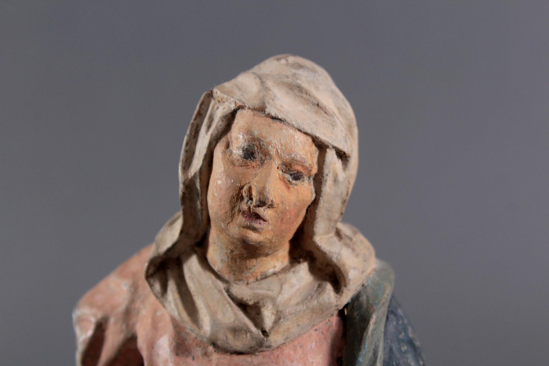 Holzskulptur, Maria mit langem Gewand, 19. Jahrhundert-5