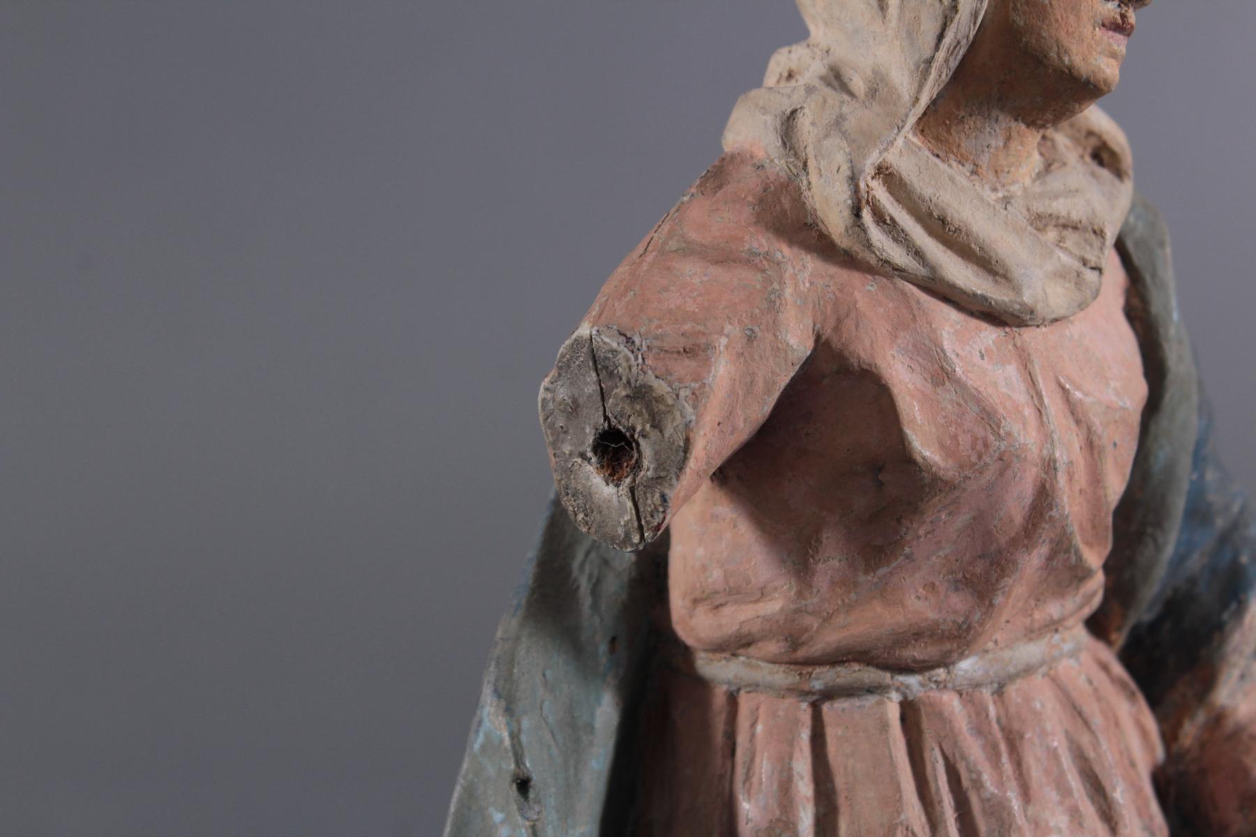 Holzskulptur, Maria mit langem Gewand, 19. Jahrhundert-6