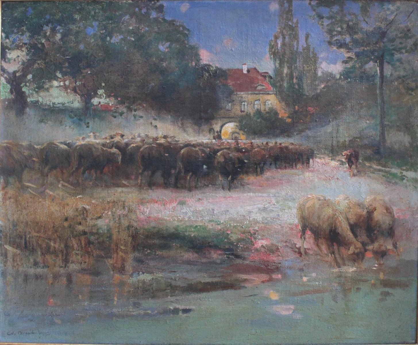 Carl Wilhelm Bergmüller (1864  – 1928), 'Schafherde am Fluss'-2
