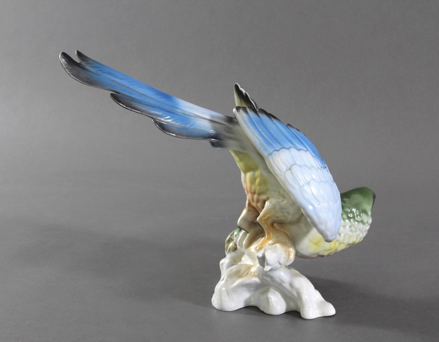 Große Porzellanfigur 'Papagei', Porfin Cluj-Napoca, Rumänien-4