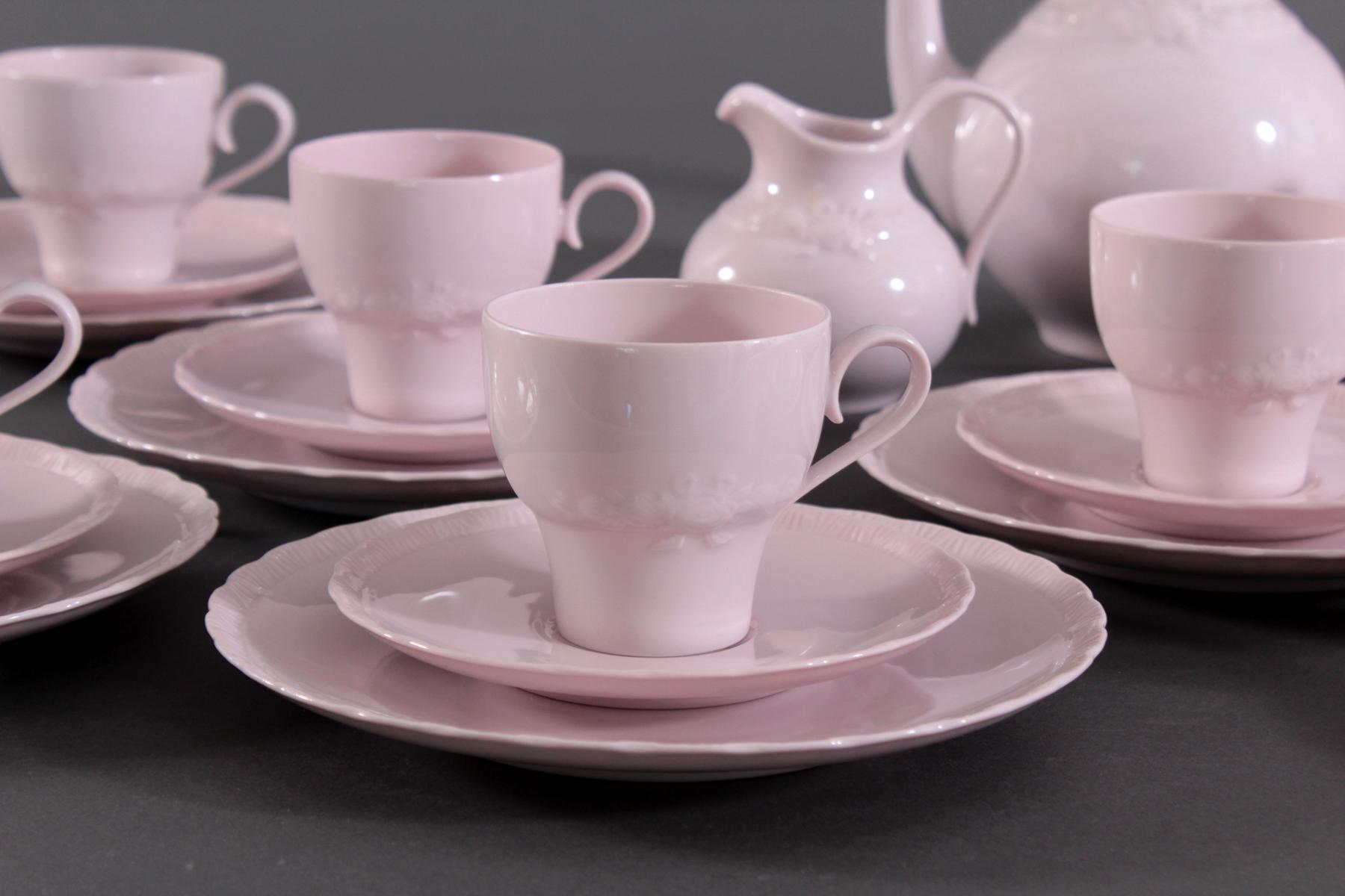 Hutschenreuther Kaffeeservice 'Porcelaine Rosé'-2
