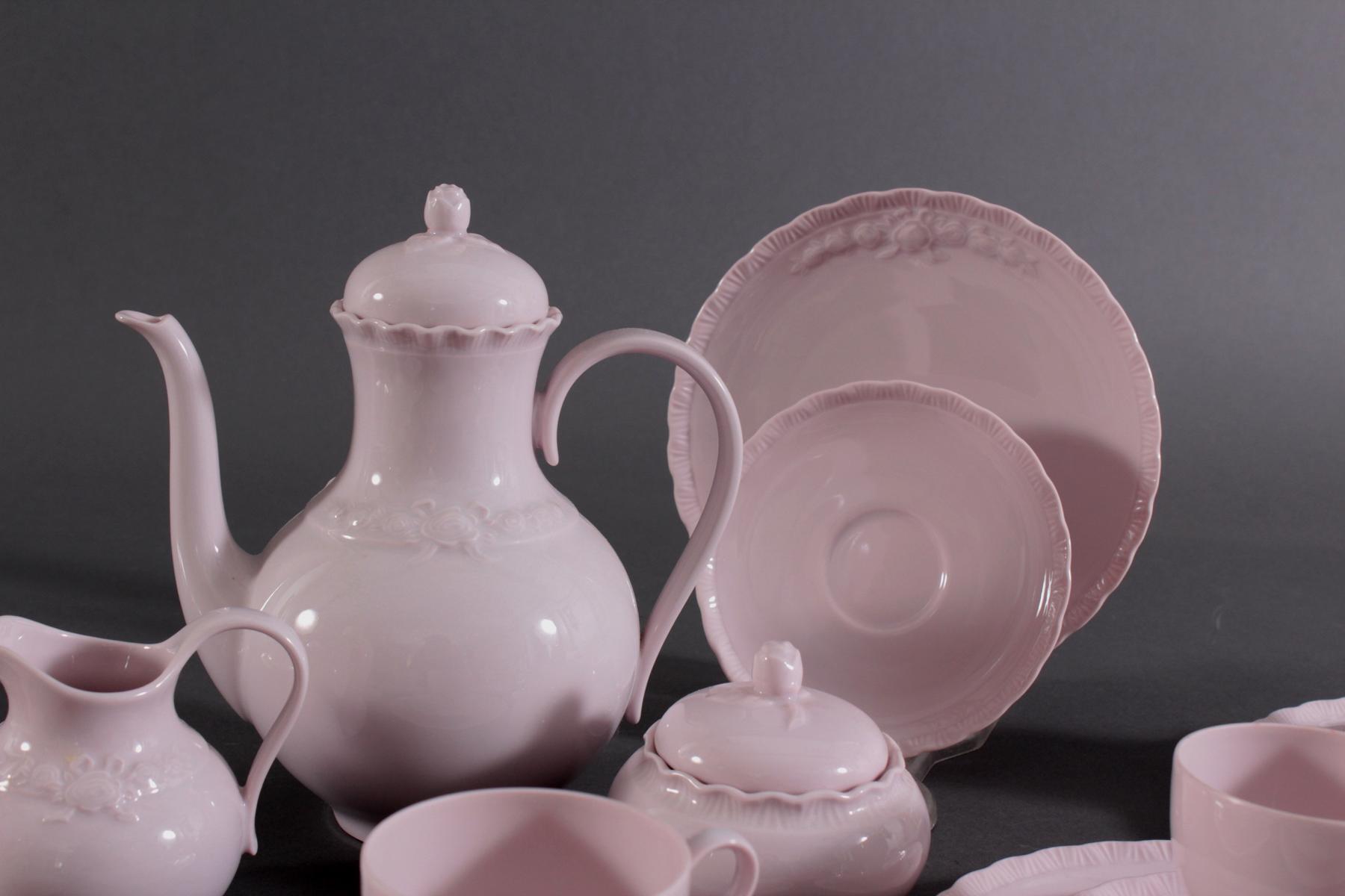 Hutschenreuther Kaffeeservice 'Porcelaine Rosé'-3